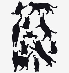 Cats collection - isolated silhouette vector