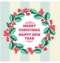 Christmas mistletoe holiday card vector image vector image