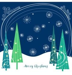 Christmas trees background vector image vector image