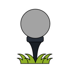 Color image cartoon golf ball on tee in grass vector
