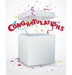 Congratulations message box with confetti vector image