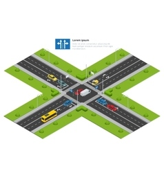 Crossroads and road markings isometric vector