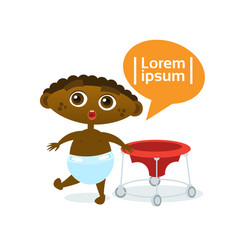 Cute baby boy african american toddler happy vector