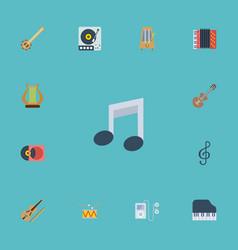 Flat icons harmonica lyre rhythm motion and vector