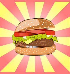 Hamburger or burger with salad cheese beef meat vector
