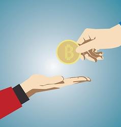 Hand giving bitcoin vector