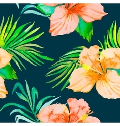 Hibiscus tropical plants seamless pattern and vector