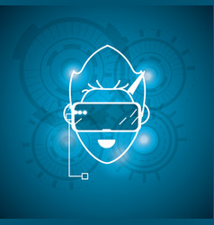 human cyberspace connect with 3d glasses vector image vector image