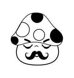 Kawaii cute sleeping fungus with mustache vector