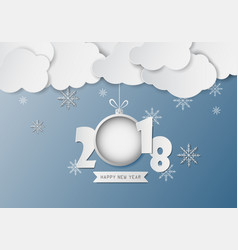 Paper clouds and snowflake with text happy new vector