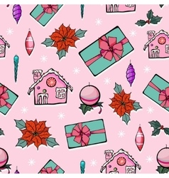 Pink Holiday Christmas Gingerbread Houses vector image