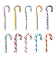 realistic candy cane classic stick vector image vector image