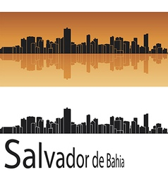 Salvador de Bahia skyline in orange background vector image