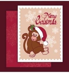 Santa monkey christmas greeting card vector