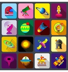 Space items icons set flat style vector