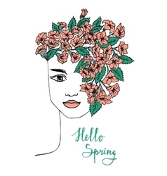 Spring hand drawn girl with flower hair vector image