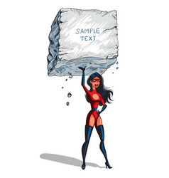 Super woman raises a big boulder with text vector