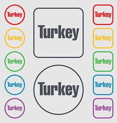 Turkey icon sign symbol on the round and square vector
