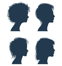 woman head silhouettes female face vector image