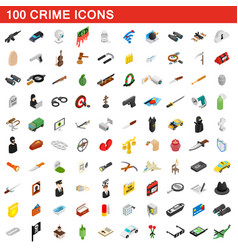 100 crime icons set isometric 3d style vector