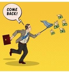 Pop Art Businessman Catching Flying Money vector image