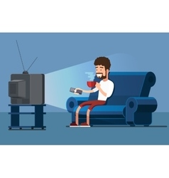Man watches tv on sofa with coffee cup vector