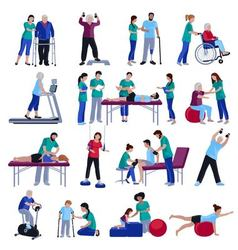Physiotherapy rehabilitation people flat icons vector