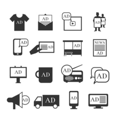 Advertisment media icons advertising ribbon and vector