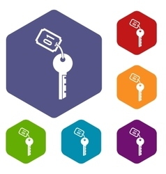 Hotel key icons set vector