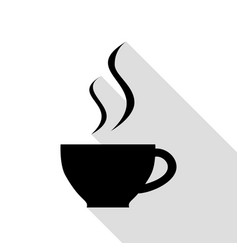 Cup of coffee sign black icon with flat style vector