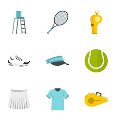 Court tennis icons set flat style vector