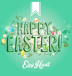 Happy easter greeting card with flowers eggs vector