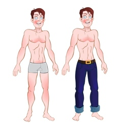 Man in jeans and nude vector