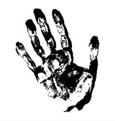 Black hand print vector