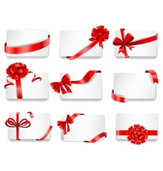 Festive cards with red gift ribbons vector