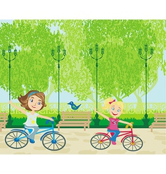 Children biking in the park vector