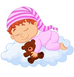 Baby sleeping on the cloud vector image