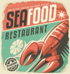 Retro seafood restaurant poster with lobster vector