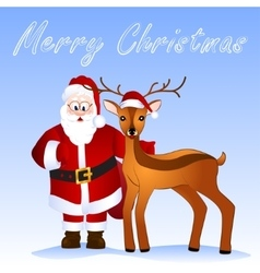 Merry christmas card with deer and santa vector