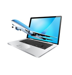 Laptop and plane vector