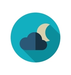 Cloud moon flat icon meteorology weather vector