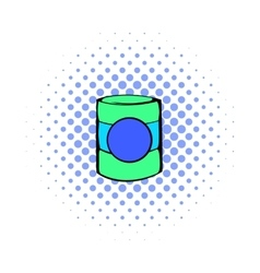 Green plastic jar icon comics style vector