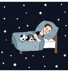 Man sleeping in bed pillow together with puppies vector