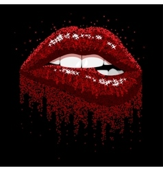 Red sparkles lips vector
