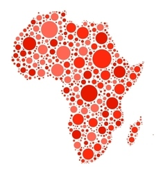 Africa map mosaic of red dots vector image vector image