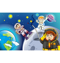 Astronauts in the outerspace vector