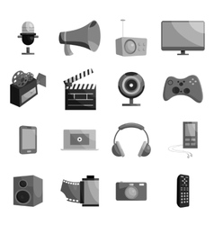 Audio and video set black monochrome style vector image