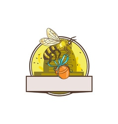 Bee carrying honey pot skep circle drawing vector