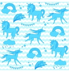 Blue unicorns with stars on a white and aquamarine vector image