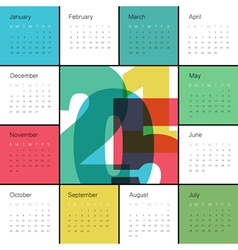 Calendar 2015 square colorful vector